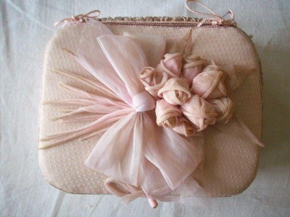 I ❤ ribbonwork . . . Antique french pink ribbonwork box 1920s