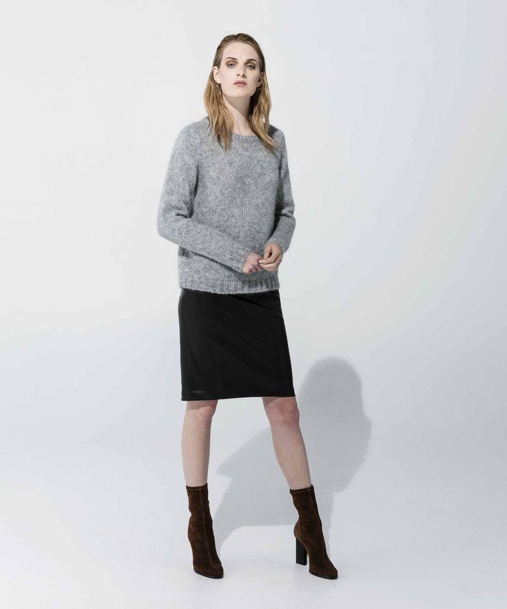 Mohair Crewneck Sweater - Grey Marle, Leatherette Skirt - Black