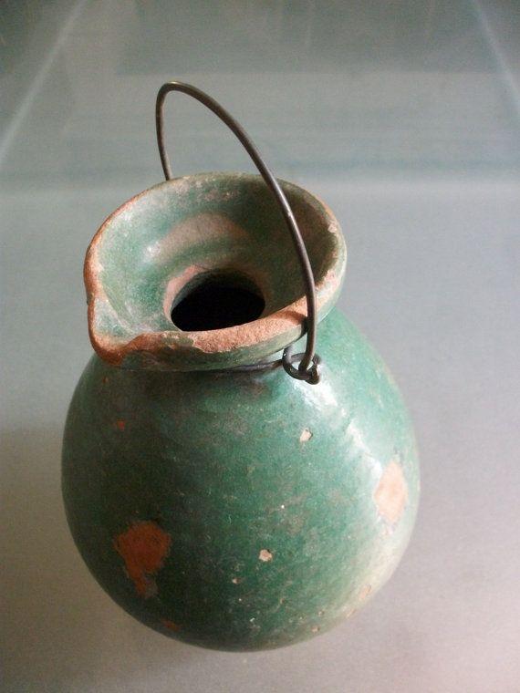 Vintage French Walnut Oil Olive Oil Jug Pot by Vintagemaison
