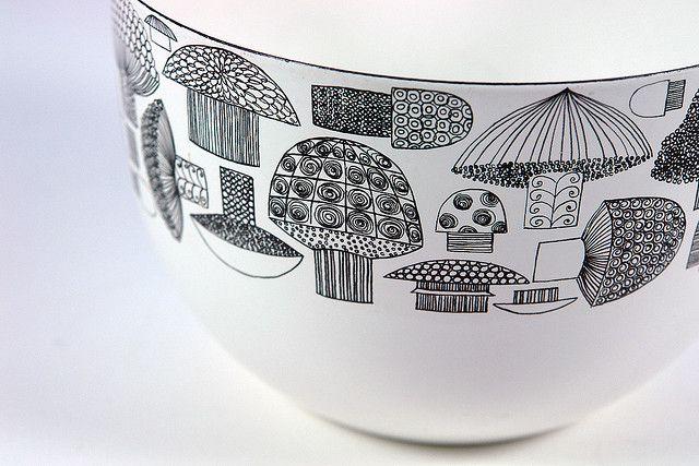 vintage Finel 'mushroom' enamel bowl