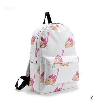 Pretty Style Women Canvas Backpacks Smiley Emoji Face Printing School Bag For Teenager Girl Shoulder Bags Mochila Feminina