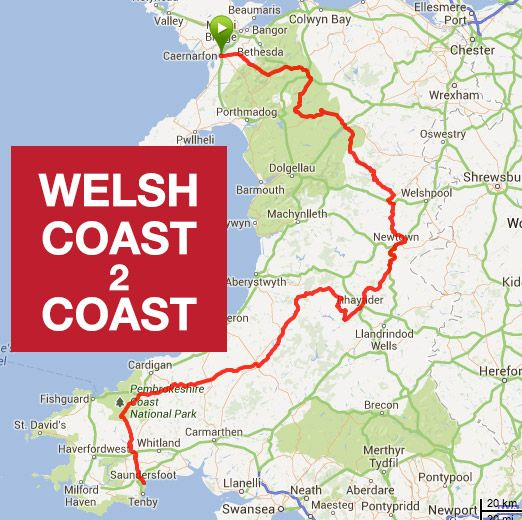 The Coast 2 Coast challenge is a 200 mile cycle from Caernarfon to Saundersfoot, in just 24 hours! The route takes you across Wales to its borders with England and back to within a few miles of the Ceredigion Coast. It costs £250 to enter, however if you raise £400 for Wales Air Ambulance there is no cost! Find out more here -http://www.merlinsportive.co.uk/welsh-coast-2-coast/