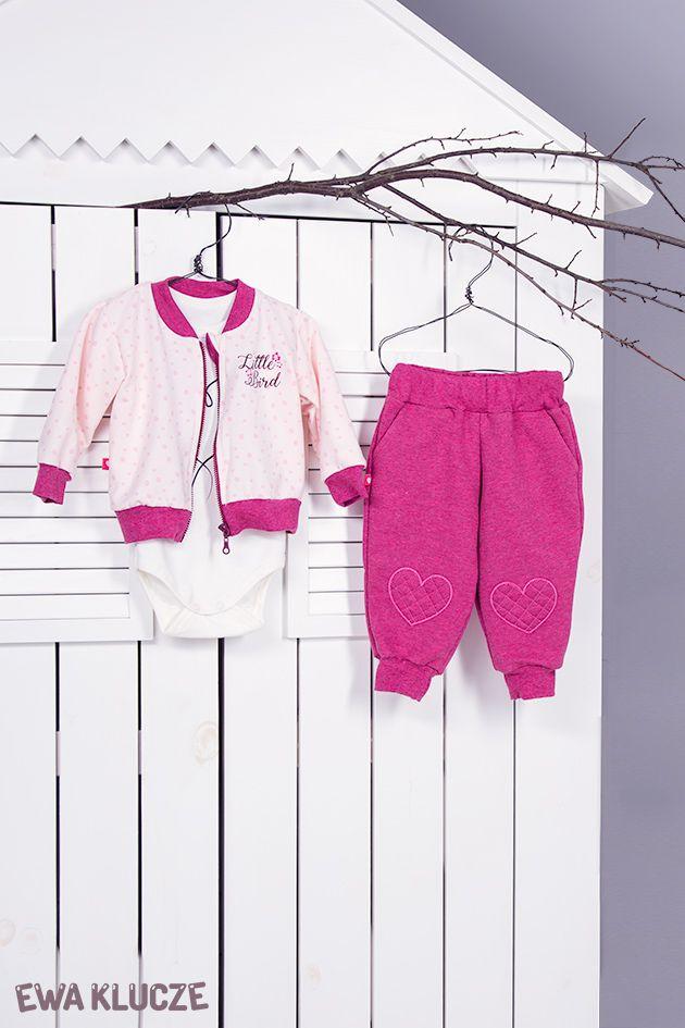 EWA KLUCZE, kolekcja BIRD, dres bordowy, body, jesień-zima 2018, ubranka dla dzieci, EWA KLUCZE, BIRD collection, baby girl joggers, bodysuit, jacket, baby clothes
