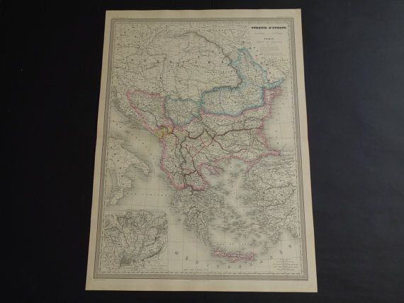 BALKANS old map LARGE 1867 original antique by DecorativePrints
