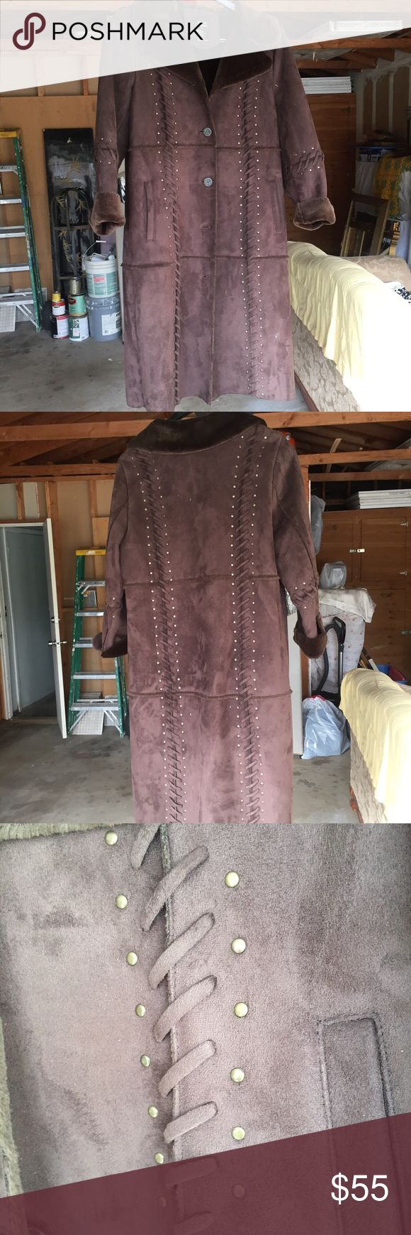 Ladies Brown winter coat. Size Medium Dennis Basso brown women's knee length coat. Faux Suede/ faux Shearling. Feels like a teddy bear. Warm and cozy. Pre worn; in good condition. Weave and gold stud accents. Dennis Basso Jackets & Coats Trench Coats