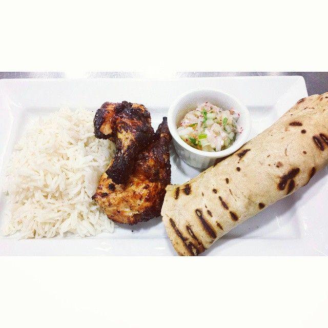 tandori chicken, kheer, basmati and tandoor flat bread.