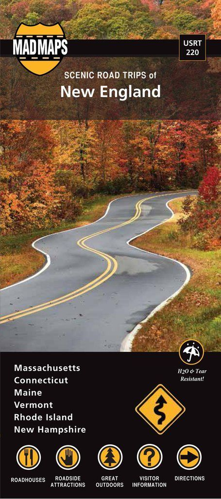 New England (2016 Edition) Road trips map of New England: featuring travel maps of Maine, New Hampshire, Vermont, Massachusetts, Rhode Island and Connecticut. This is the ultimate New England route pl