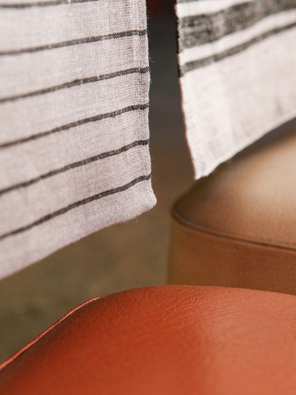 Runner 100% Lino Bianco Righe Nere Fiorirà Un Giardino | Coquelicot Design