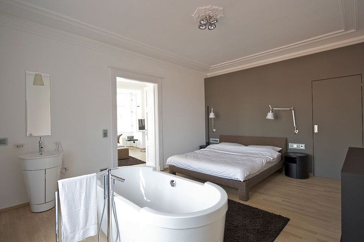 Bedroom with bath.  Very nice and modern solution. Our realization in the center of Prague. GORDON DESIGN