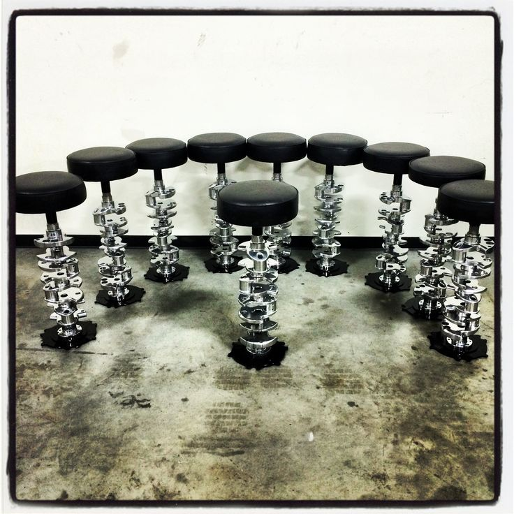 Top Fuel Bar Stools are made from race used crankshafts out of 10,000 horsepower NHRA Top Fuel Dragsters and Funny Cars.