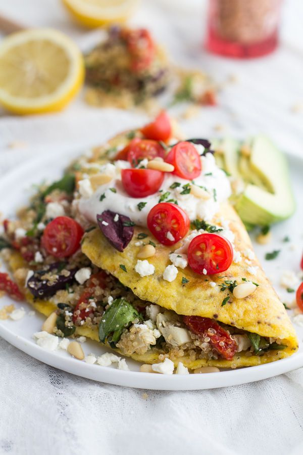 Simple Greek Quinoa Dinner Omelets with Feta and Tzatziki. - Half Baked Harvest