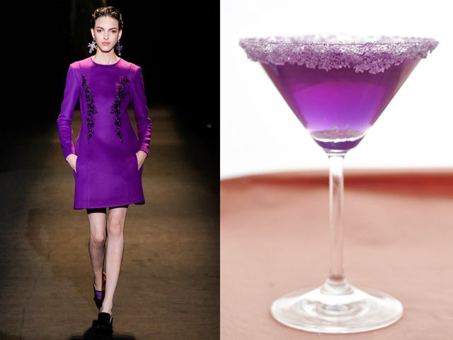 Alberta Ferretti fw 2013-14 / Champagne, vanilla vodka and wild blueberry juice.