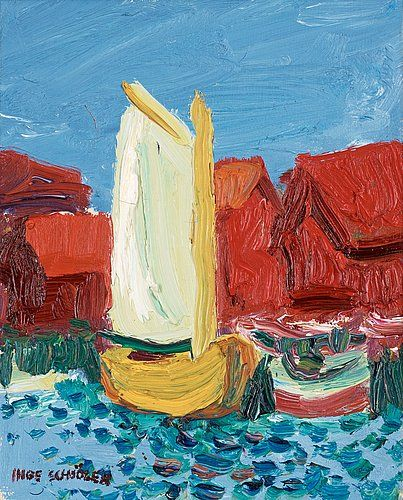 INGE SCHIÖLER, Coastal motif with yellow sailing boat. Signed Inge Schiöler. Canvas 27.5 x 22.5 cm.. - Modern Autumn Sale, Stockholm 569 – Bukowskis
