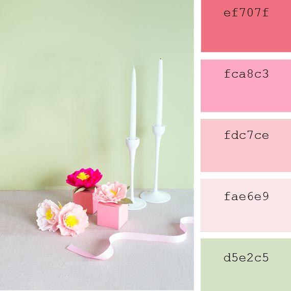 #Paleta de #colores #pastel #rosa #salmon #verde #peonías