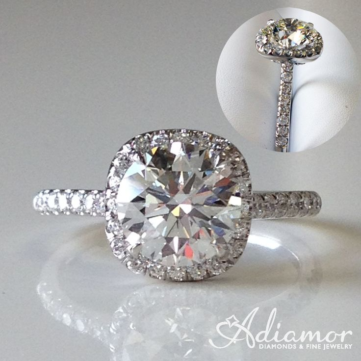 Our French cut cushion halo R2940 set with a round cut center stone.  The best of both!  The brilliance of a round cut and the round edges of a cushion.