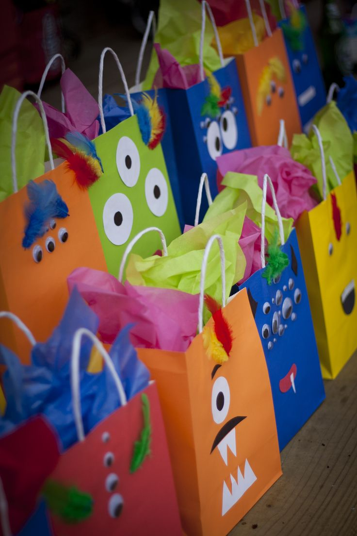 Monster party favor bags.     Visit www.fireblossomcandle.com for more party ideas!