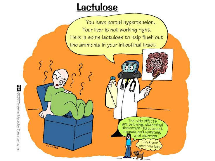 Lactulose Lactulose, a type of sugar, that is broken down in the large intestine into mild acids that draw water into the colon, which then helps soften the stools. In the same manner, lactulose is used to treat chronic constipation. Lactulose is sometimes used to treat or prevent certain conditions of the brain that are caused by liver failure, which can lead to confusion, problems with memory or thinking, behavior changes, tre...