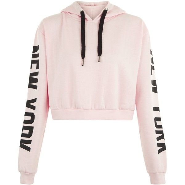 Parisian Pink New York Slogan Cropped Hoodie (£17) ❤ liked on Polyvore featuring tops, hoodies, jackets, crop tops, sweaters, pink crop top, pink top, pink hoodies, hooded pullover and cropped hoodies
