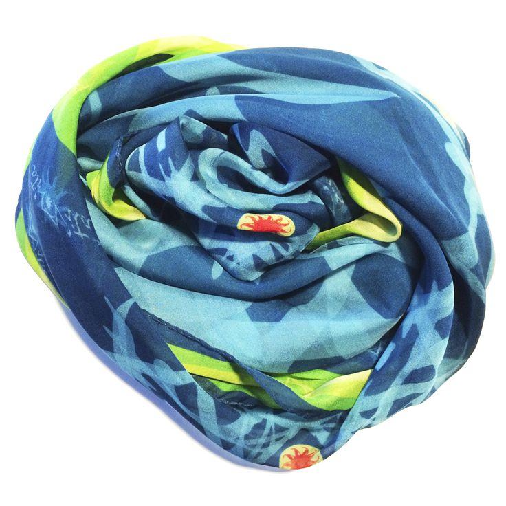 Progetto tessile di STRATEGIC-DESIGN per foulard in seta con grafica originale,variante in  Blu