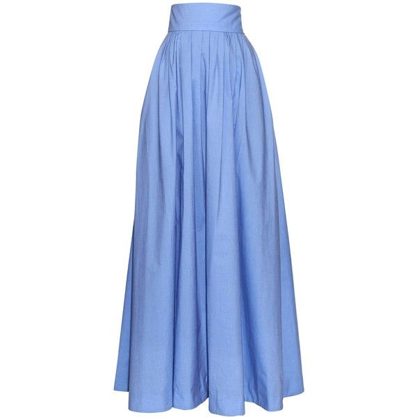 Rosie Assoulin Morning After pleated maxi skirt (43,745 INR) ❤ liked on Polyvore featuring skirts, long skirts, blue, long blue skirt, long cotton skirts, cotton maxi skirt, high waist skirt and maxi skirts