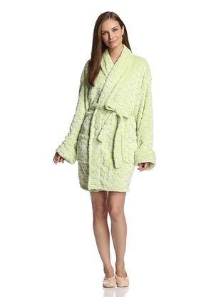 21% OFF Aegean Apparel Women's Pom Pom Plush Jacquard Robe (Lettuce Green)