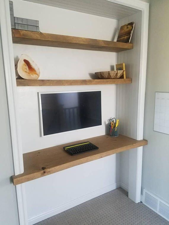 "Create your own media center. 2"" thick floating solid wood desk and shelves made from beautiful rough cut wood. Or add an industrial look by using pipe supports. See Etsy shop: Etsy.com/shop/PipefurnitureDesigns"
