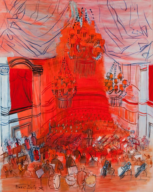 Enlarge image    Raoul Dufy (French, 1877–1953)  Red Orchestra [Le concert rouge], 1946–49  Oil on canvas  39 3/8 x 31 7/8 in. (100.01 x 80.96 cm)  Gift of Mrs. Harry Lynde Bradley M1959.379   Photo credit John R. Glembin  ©2010 Artists Rights Society (ARS), New York / ADAGP, Paris