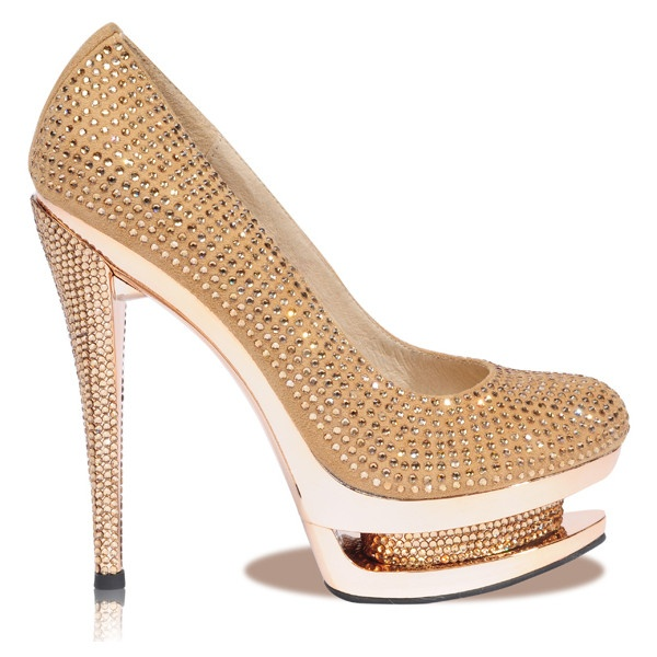 'Ice' Gold Round Toe Crystal Embellished Platform Heels - Celeb Boutique - Celebrity Style At High Street Prices| Bodycon Dresses | Bandage Dresses | Party Dresses found on Polyvore