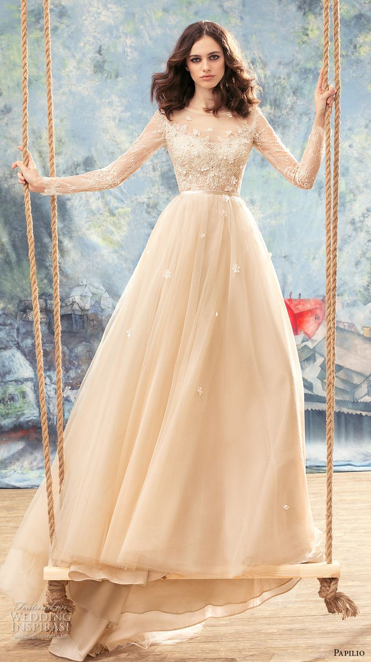 papilio 2017 bridal long sleeves sheer bateau sweetheart neckline heavily embellished bodice ivory color romantic a  line wedding dress sheer back chapel train (crane) mv -- Papilio 2017 Wedding Dresses