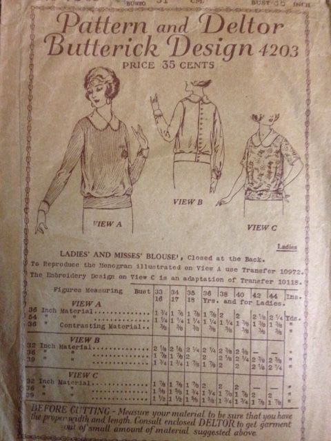Deltor Butterick 3193, Ladies and misses blouse, 36, 1920s