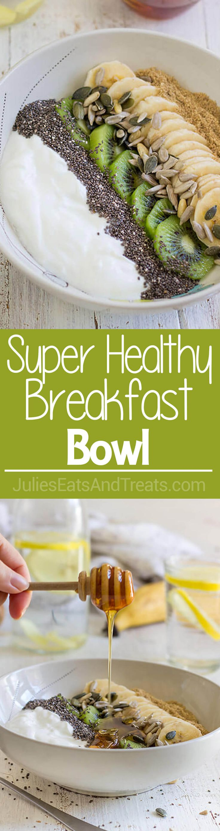 Super Healthy Breakfast Bowl ~ Start off your day with this nutritious meal ready in less than 5 minutes. An easy breakfast with yogurt, fruits and seeds! ~ http://www.julieseatsandtreats.com