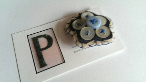 Handmade Blue Flower button brooches handmade by PatricksPieces