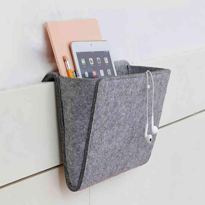 Kikkerland® Bedside Felt Storage Pocket in Grey |…