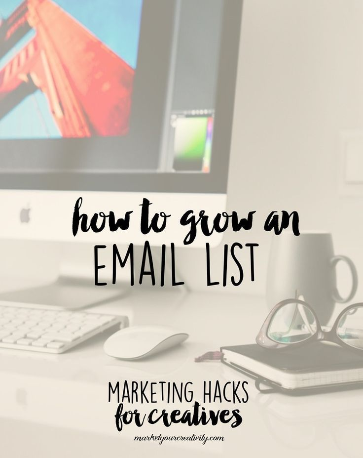 How to Grow Your Email List in on Etsy and creative business by Lisa Jacobs of Marketing Creativity.