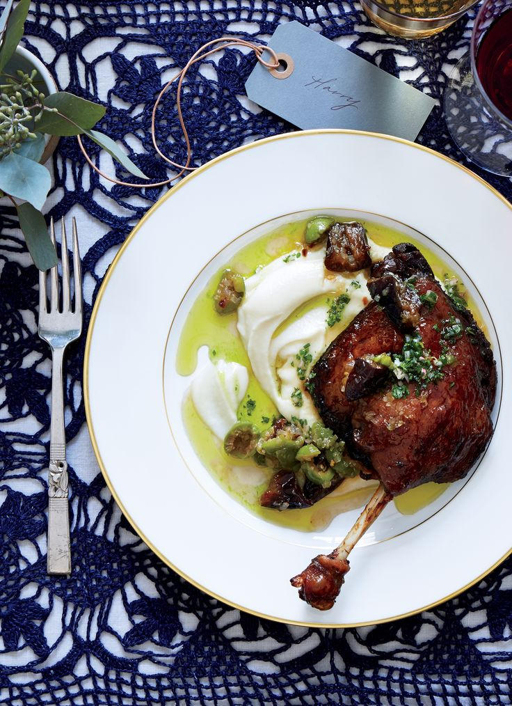 Glazed Duck Confit with Olive Relish and Sauce Verte Don't be dismayed by 