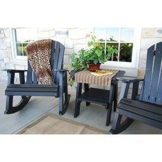 Outdoor Little Cottage Heritage High Fan Back Patio Rocker Chair - LCC-115-TUDOR/BLACK