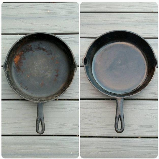 Reinige Deine gusseiserne Pfanne, indem Du eine Kartoffelhälfte und Salz benutzt.   17 grenzgeniale Lifehacks zum Putzen, die Du bei Instagram findest
