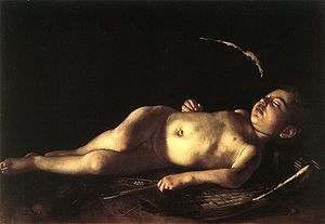 """""""Cupido durmiendo""""es una obra de Caravaggio que data de 1608"""