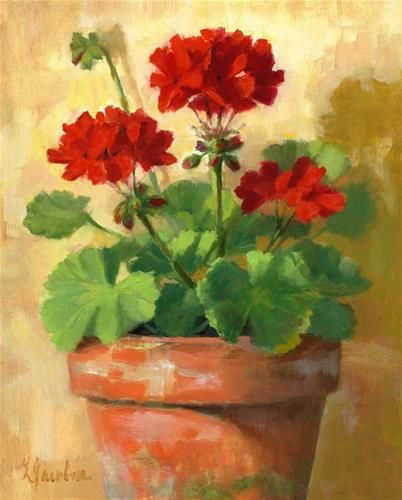 """Daily Paintworks - """"Geraniums in Red"""" - Original Fine Art for Sale - © Linda Jacobus"""