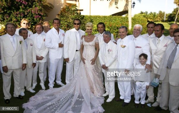 Ivana Trump (8th L) and Rossano Rubicondi (9th L) with the groomsmen after the wedding of Ivana Trump and Rossano Rubicondi at the Mar-a-Lago Club on April 12, 2008 in Palm Beach, Florida.