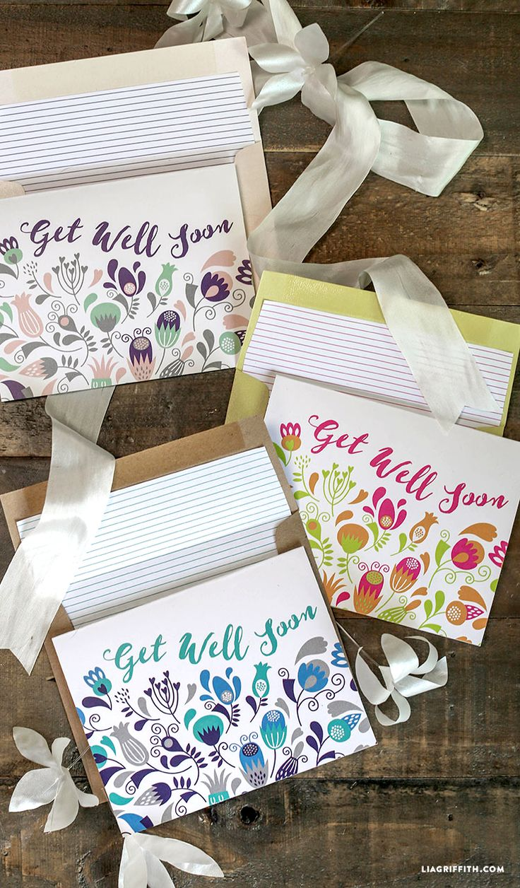 Printable get well soon cards at www.LiaGriffith.com