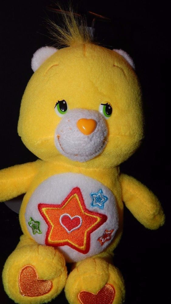 "Care Bears Superstar Bear 8"" Bean Bag Plush  2005 Yellow Stuffed Animal Toy EUC"