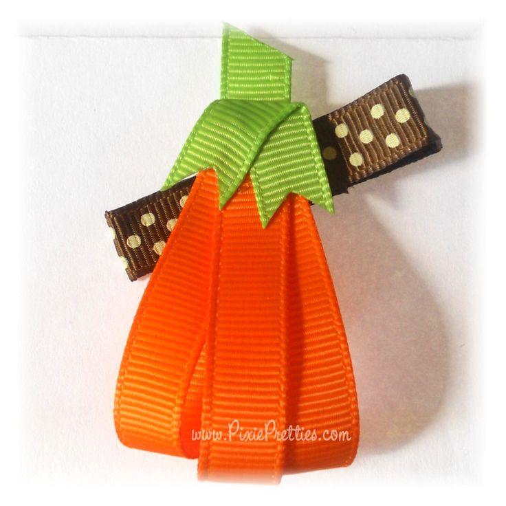Tall Pumpkin Clippie-pumpkin, harvest, thanksgiving, fall, halloween, jack o lantern, trick or treat, orange, green, brown, hair clip, hair bow, hairbow, ribbon sculpture