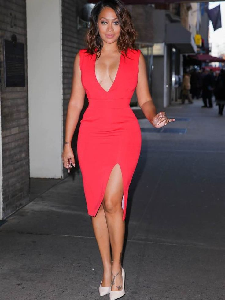 Lala Anthony's Chiraq and Unforgettable Press Day Nicholas Red Deep V Neck Dress