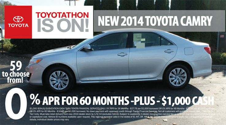 Now's the time to get the 2014 Camry at Toyota of Puyallup! For #Toyotathon, get 0% APR for 60 months PLUS $1,000 cash!