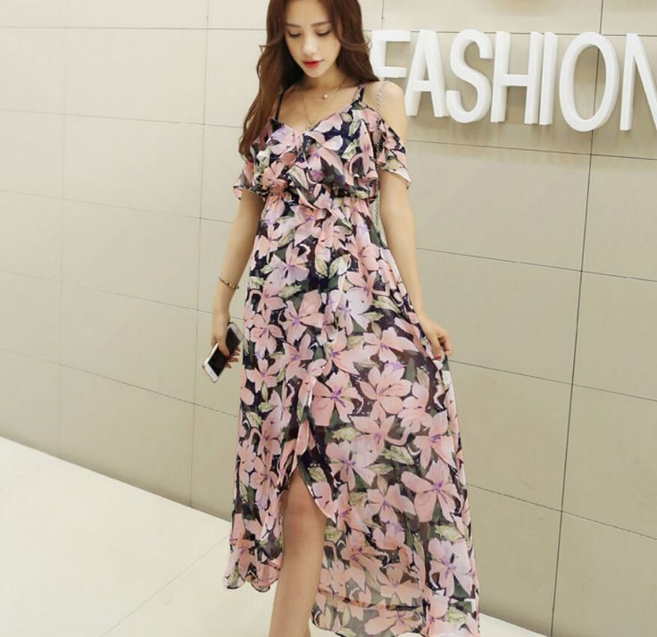 Vogue women korea short sleeve Dew shoulder floral Slim fit summer long dress GJ #Unbranded #Dewshoulder #Casual