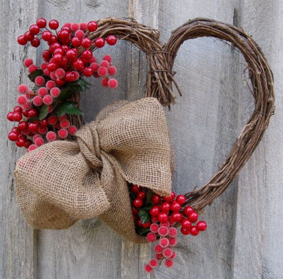 Valentine Wreath Heart Wreath Berries Burlap