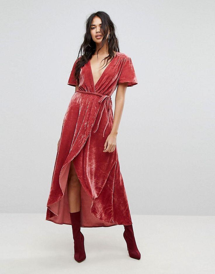 PrettyLittleThing Velvet Wrap Midi Dress - Pink