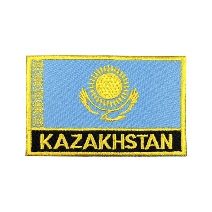 Kazakhstan Flag Patch Embroidered Patch Gold Border Iron On patch Sew on Patch Bag Patchmeet you on Fleckenworld.com