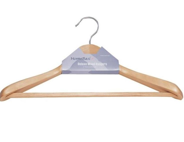 Homebasix HEA00046G-N Premium Natural Suit Hanger, Wood